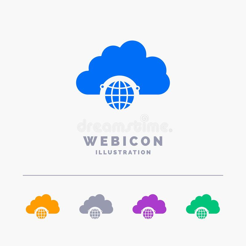 réseau, ville, globe, hub, calibre d'icône de Web de Glyph de couleur de l'infrastructure 5 d'isolement sur le blanc Illustration illustration stock