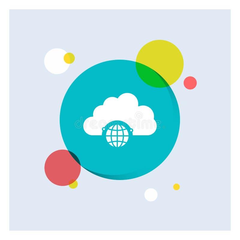 réseau, ville, globe, hub, fond coloré de cercle d'icône blanche de Glyph d'infrastructure illustration de vecteur