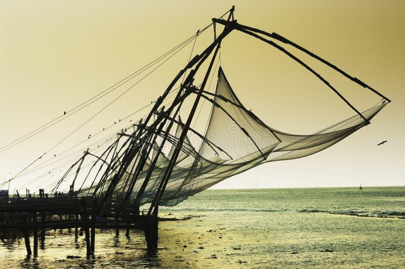 Réseaux chinois dans Kochi photo libre de droits
