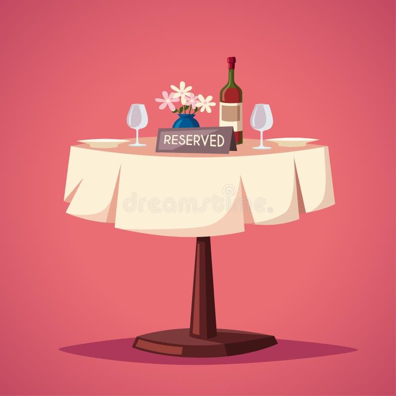 Réservé connectez-vous la table dans le restaurant Illustration de vecteur de dessin animé illustration de vecteur
