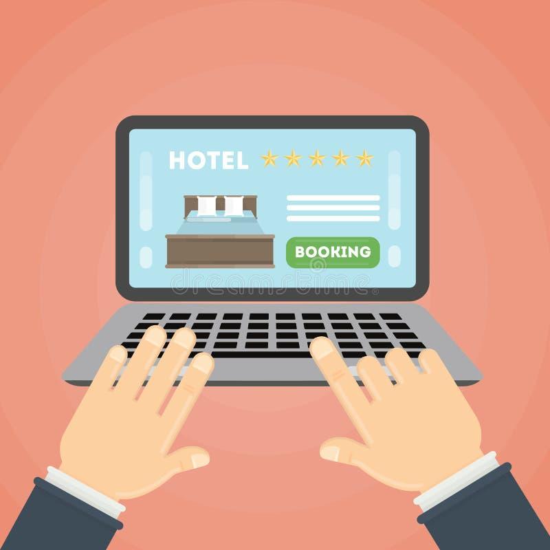 Réservation d'hôtel en ligne illustration stock