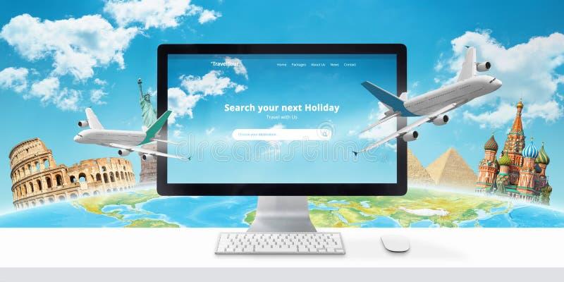 Réservation d'un concept en ligne de vol Recherche de voyageur d'une destination, et logement et billets de livre en ligne photos libres de droits