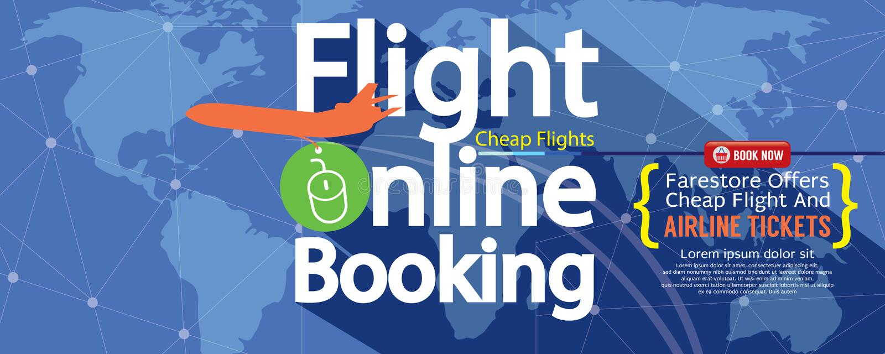 Réservation en ligne de vol à vendre la bannière 1500x600 illustration libre de droits