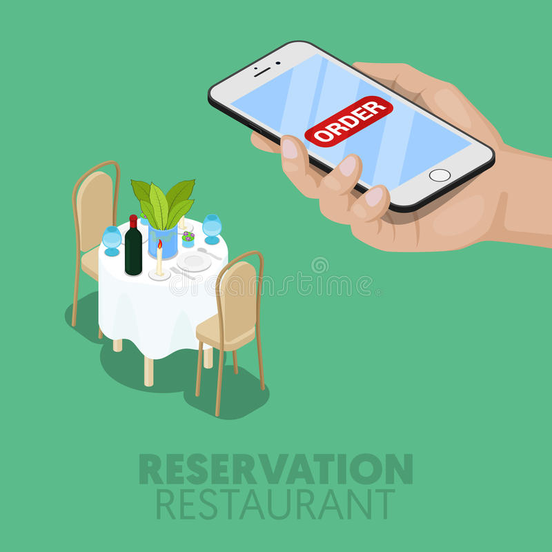 Réservation en ligne isométrique de Tableau de restaurant illustration libre de droits