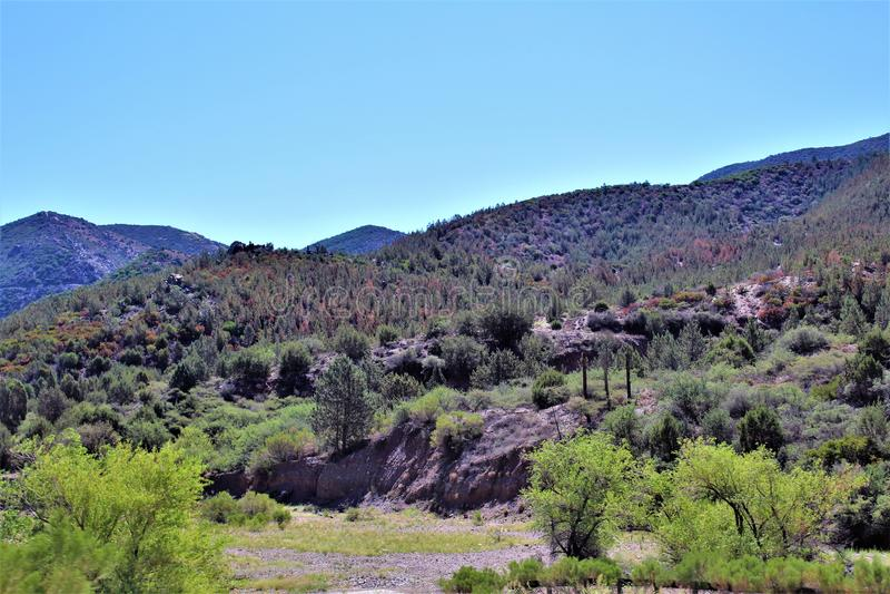 Réserve forestière de Tonto, outre de la route 87, l'Arizona U S Ministère de l'agriculture, Etats-Unis photographie stock