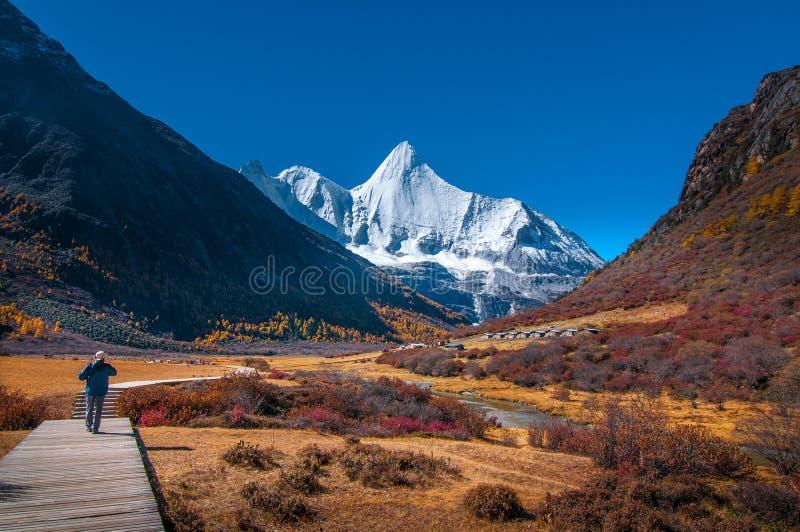 Réserve naturelle de Yading, comté Sichuan Chine de Daocheng image libre de droits
