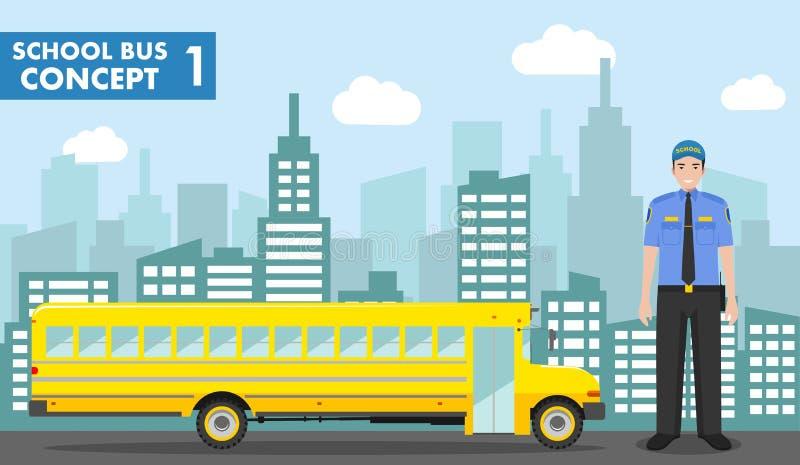 réserve vieux d'isolement par éducation de concept Illustration détaillée de conducteur et d'autobus scolaire jaune sur le fond a illustration libre de droits