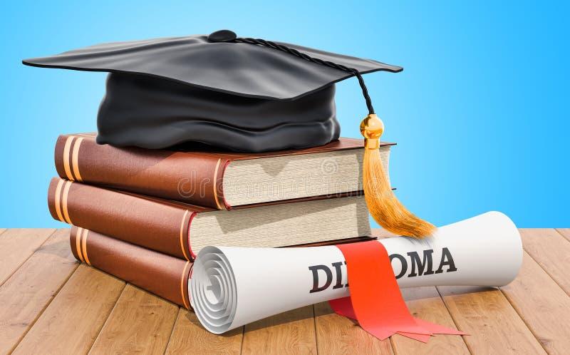 réserve vieux d'isolement par éducation de concept Livres avec le chapeau et le diplôme d'obtention du diplôme sur illustration libre de droits