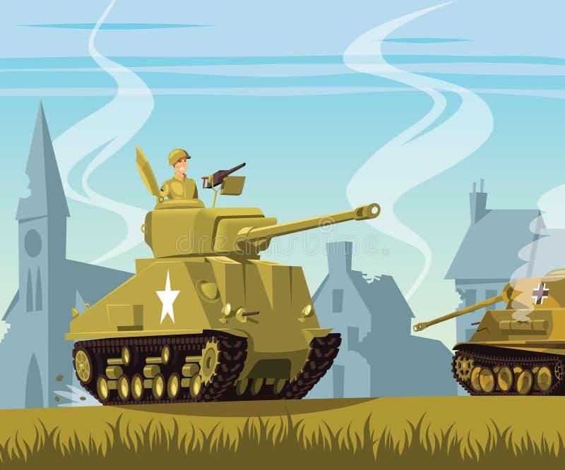 Réservoir américain sur le champ de bataille de la deuxième guerre mondiale illustration de vecteur