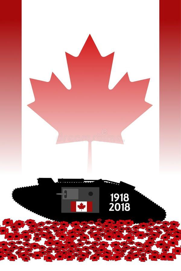 Réservoir canadien, commémoration du centenaire de la grande guerre illustration libre de droits