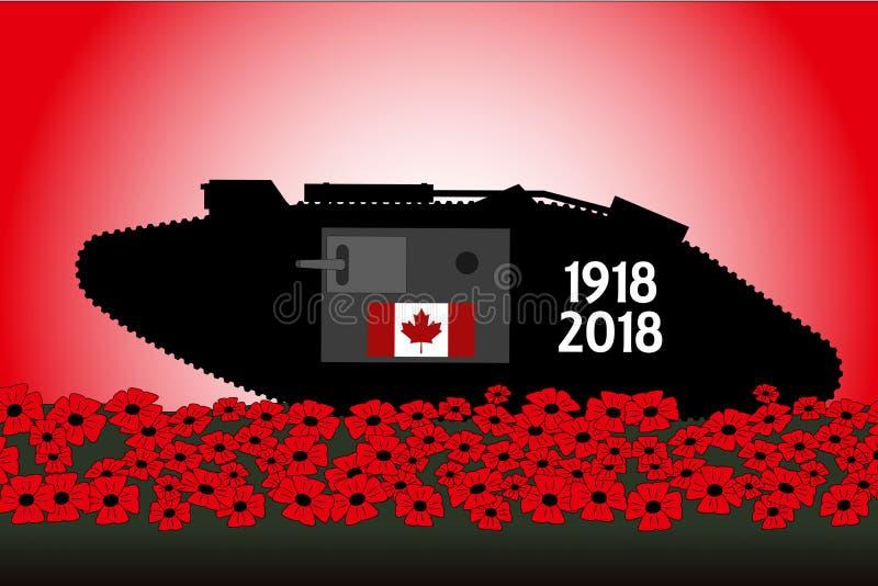 Réservoir canadien, commémoration du centenaire de la grande guerre illustration de vecteur