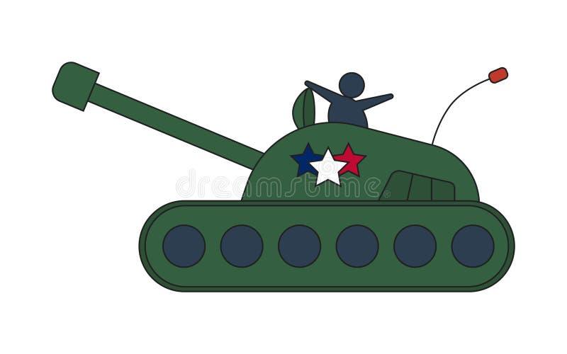 Réservoir d'armée militaire olive de bande dessinée grand d'isolement sur le fond blanc illustration libre de droits
