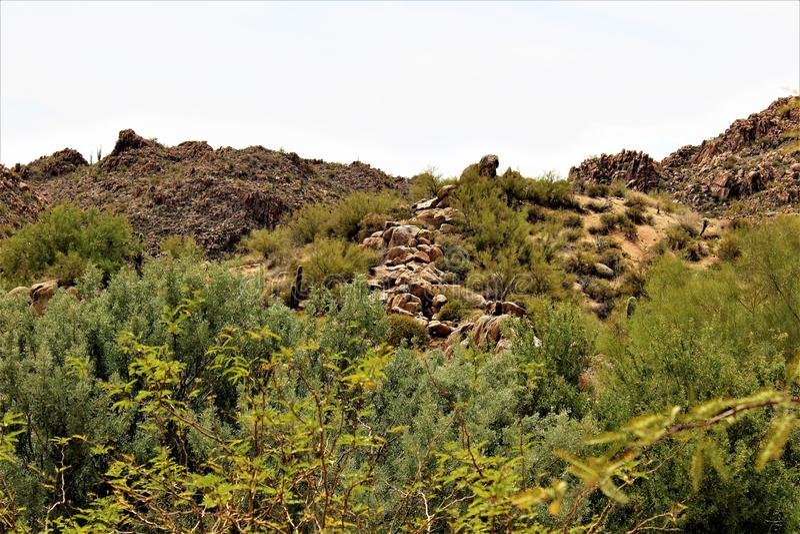 Réservoir de Bartlett Lake, le comté de Maricopa, état vue scénique de paysage d'Arizona, Etats-Unis photographie stock