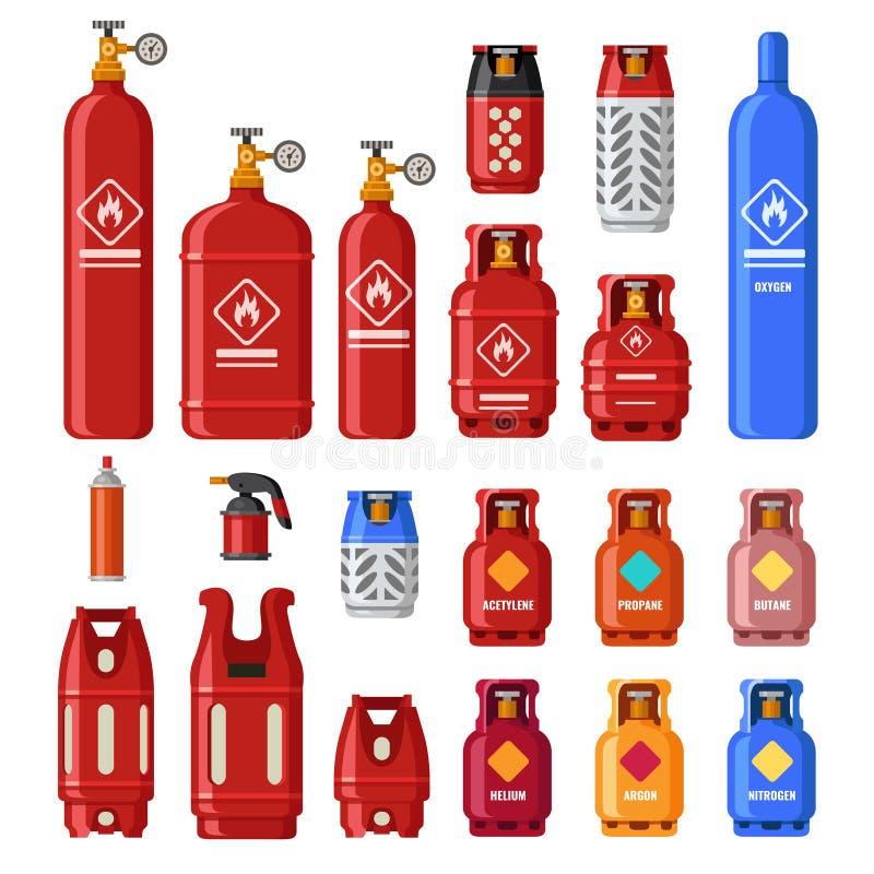 Réservoir de gaz Cylindres de Gaz avec de l'acétylène, le propane ou le butane Carburant de pétrole dans le cylindre de sécurité  illustration stock