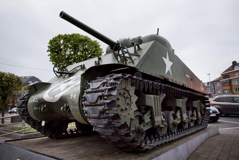 Réservoir de la deuxième guerre mondiale près de Bastogne, Belgique images libres de droits
