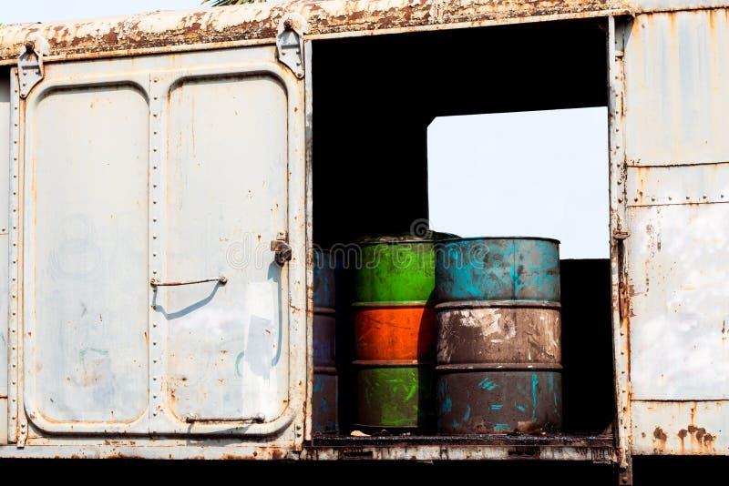 Réservoir de stockage de pétrole dans le charriot diesel de train photo libre de droits
