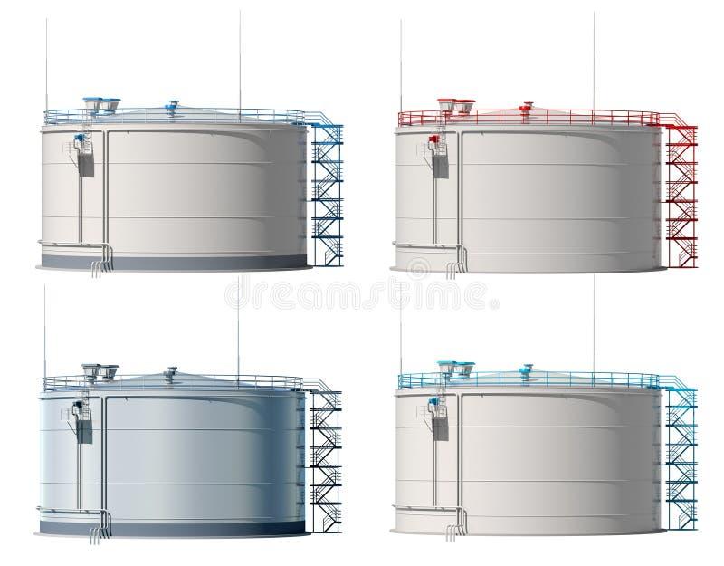 réservoir de stockage de pétrole de l'illustration 3d D'isolement Vue de face illustration de vecteur