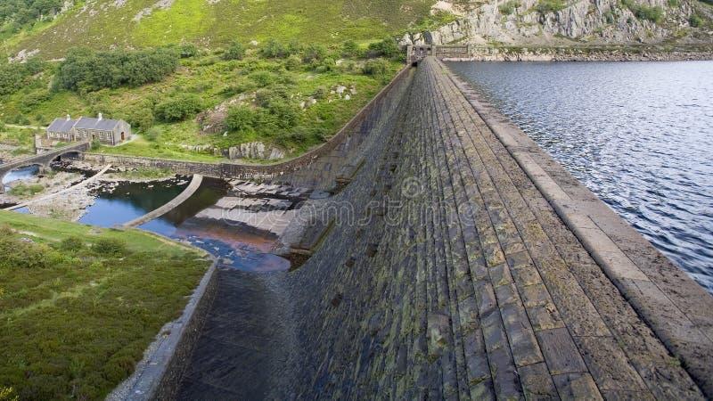 Réservoir et barrage avec la station de pompage de négligence de niveau d'hautes eaux image libre de droits