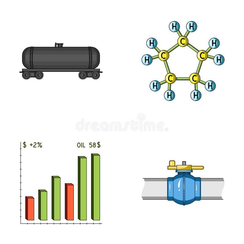 Réservoir ferroviaire, formule chimique, diagramme de prix du pétrole, valve de canalisation Les icônes réglées de collection d'h illustration stock
