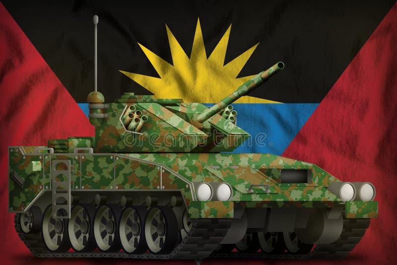 Réservoir léger RPA avec le camouflage d'été sur le fond de drapeau national de l'Antigua-et-Barbuda illustration 3D illustration stock