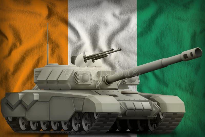 Réservoir lourd sur le fond de drapeau national de Cote d Ivoire illustration 3D illustration stock