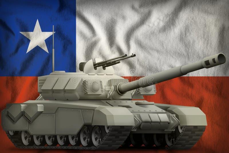 Réservoir lourd sur le fond de drapeau national du Chili illustration 3D illustration libre de droits
