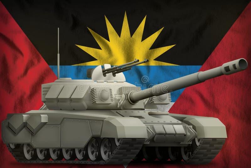 Réservoir lourd sur le fond de drapeau national de l'Antigua-et-Barbuda illustration 3D illustration stock
