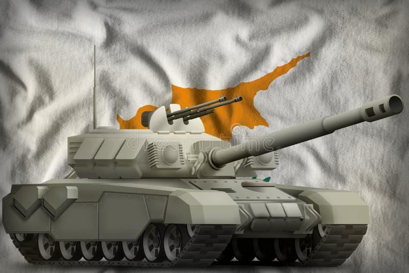 Réservoir lourd sur le fond de drapeau national de la Chypre illustration 3D illustration de vecteur