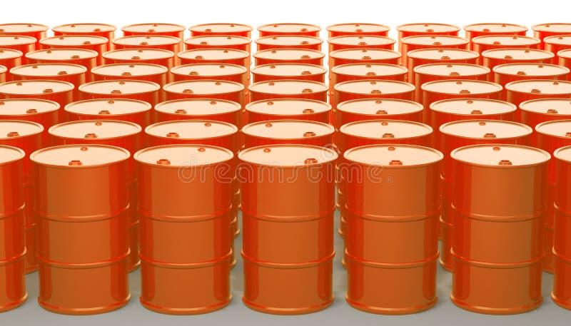 Réservoir orange en métal de baril sur le blanc rendu 3d illustration stock