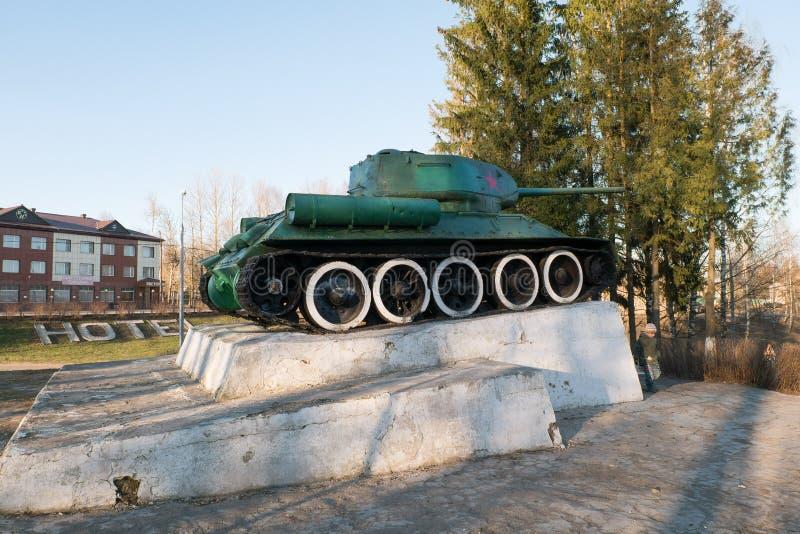 Réservoir soviétique légendaire T34 Monument dans la ville de la région de Zubtsov Tver images libres de droits