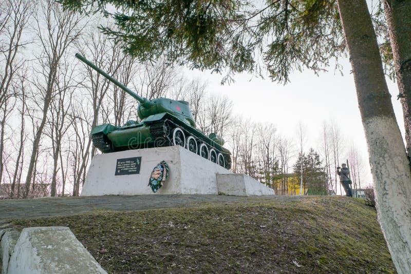 Réservoir soviétique légendaire T34 Monument dans la ville de la région de Zubtsov Tver image libre de droits