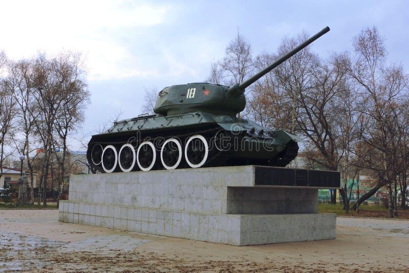 Réservoir soviétique militaire en parc de la victoire photo libre de droits