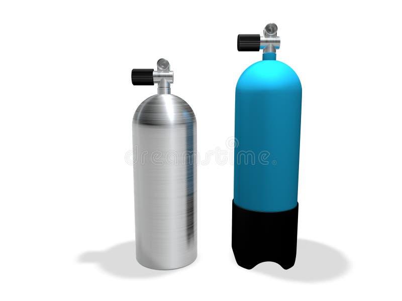 Réservoirs de plongée à l'air illustration stock