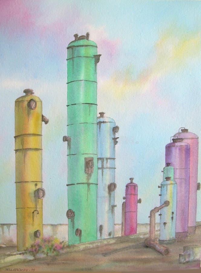 Réservoirs de raffinerie de pétrole illustration stock