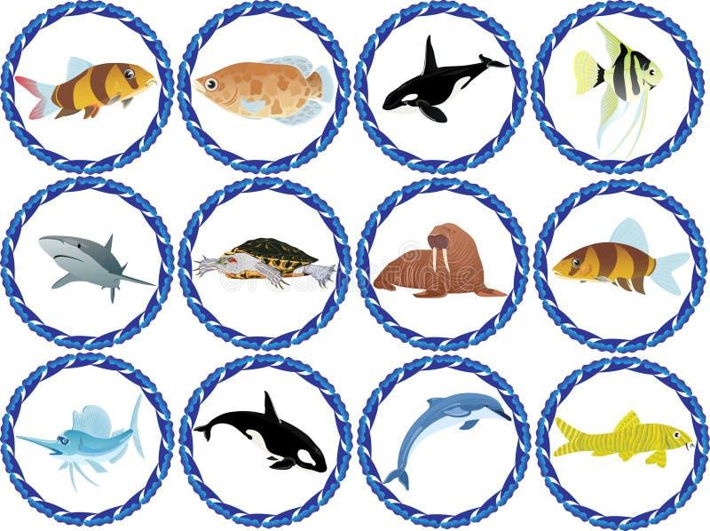 Résidants des mers et des océans illustration de vecteur
