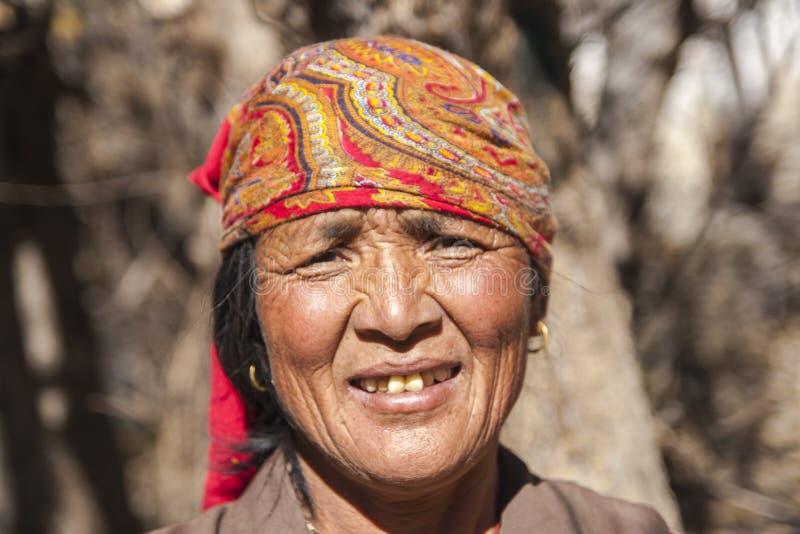 Résident de village de Jhong autour de Muktinath image stock