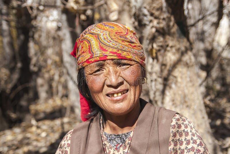 Résident de village de Jhong autour de Muktinath photographie stock