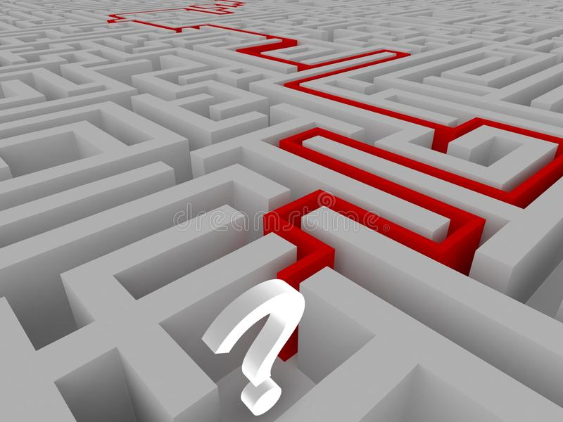 Résolution d'un labyrinthe illustration stock