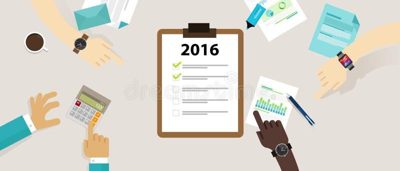 Résolution de plan d'examen d'affaires de liste de contrôle de cible d'année illustration stock