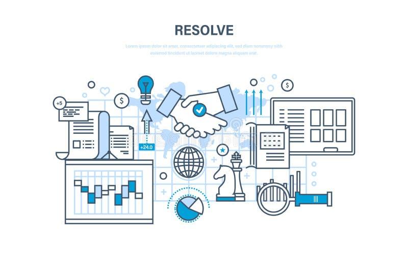 Résolution, solution des questions, planification stratégique stratégique, gestion, contrôle, coopération, travail d'équipe illustration de vecteur