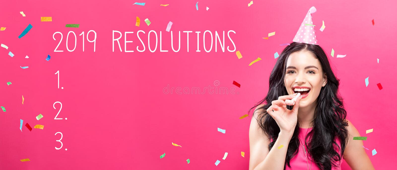 2019 résolutions avec la jeune femme avec le thème de partie photo libre de droits