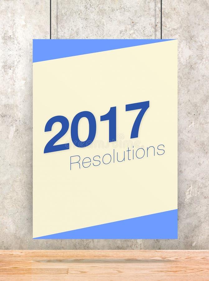 2017 résolutions concernant l'affiche crème et bleue de couleur en pastel accrochant o illustration libre de droits