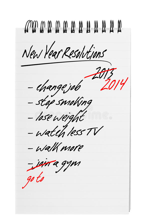 Résolutions de nouvelle année - encore photo stock