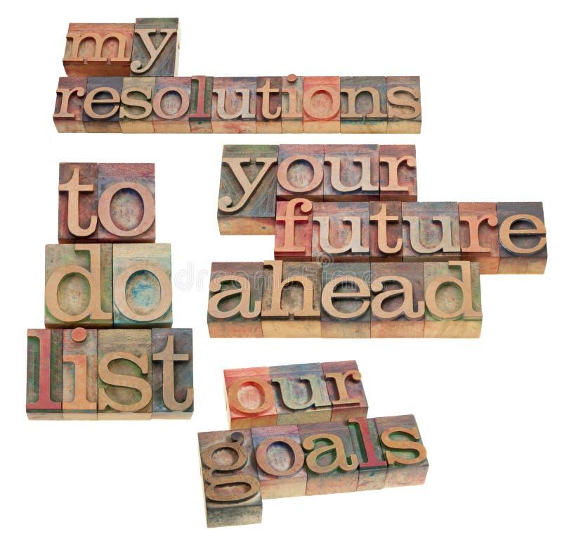 Résolutions et pour faire la liste photographie stock libre de droits