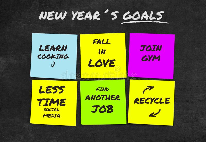 2019 résolutions manuscrites et buts de nouvelle année dans les notes collantes dans la détermination d'engagement et le concept  photo stock