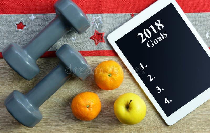 Résolutions saines pendant la nouvelle année 2018 photos libres de droits