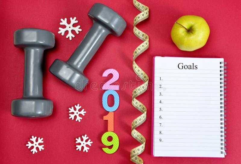 Résolutions saines pendant la nouvelle année 2019 images stock