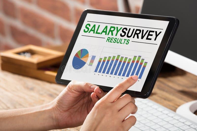 Résultat de salaire de Doing Survey On d'homme d'affaires image libre de droits