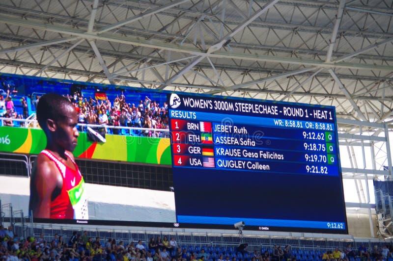 Résultats avec des noms de la chaleur 1 de course d'obstacles du ` s de femmes de 3000m à Rio2016 images libres de droits