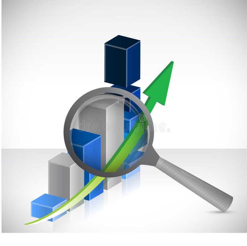 Résultats d'affaires sous l'illustration de concept d'examen illustration de vecteur